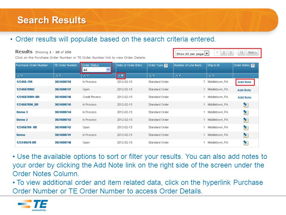 Search Results Order results will populate based on the search criteria entered.