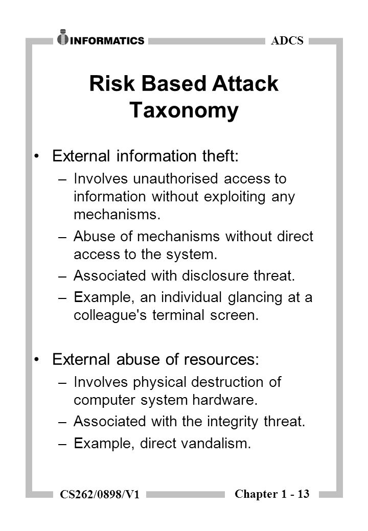 Chapter 1 - 13 ADCS CS262/0898/V1 Risk Based Attack Taxonomy External information theft: –Involves unauthorised access to information without exploiting any mechanisms.