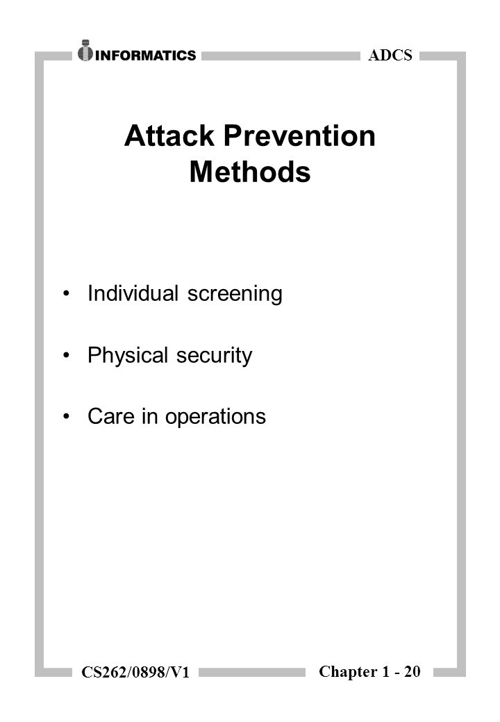 Chapter 1 - 20 ADCS CS262/0898/V1 Attack Prevention Methods Individual screening Physical security Care in operations