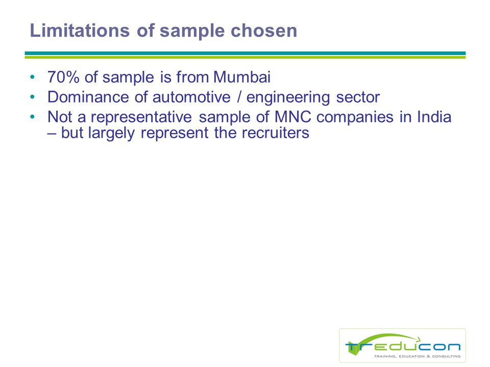 Limitations of sample chosen 70% of sample is from Mumbai Dominance of automotive / engineering sector Not a representative sample of MNC companies in India – but largely represent the recruiters
