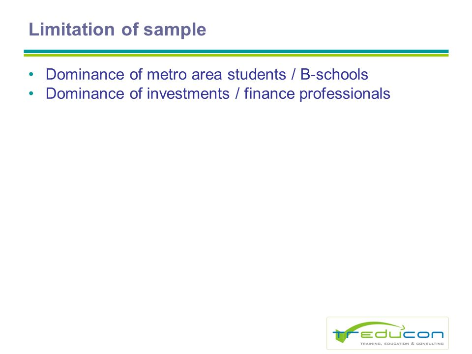 Limitation of sample Dominance of metro area students / B-schools Dominance of investments / finance professionals