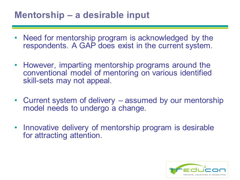 Mentorship – a desirable input Need for mentorship program is acknowledged by the respondents.