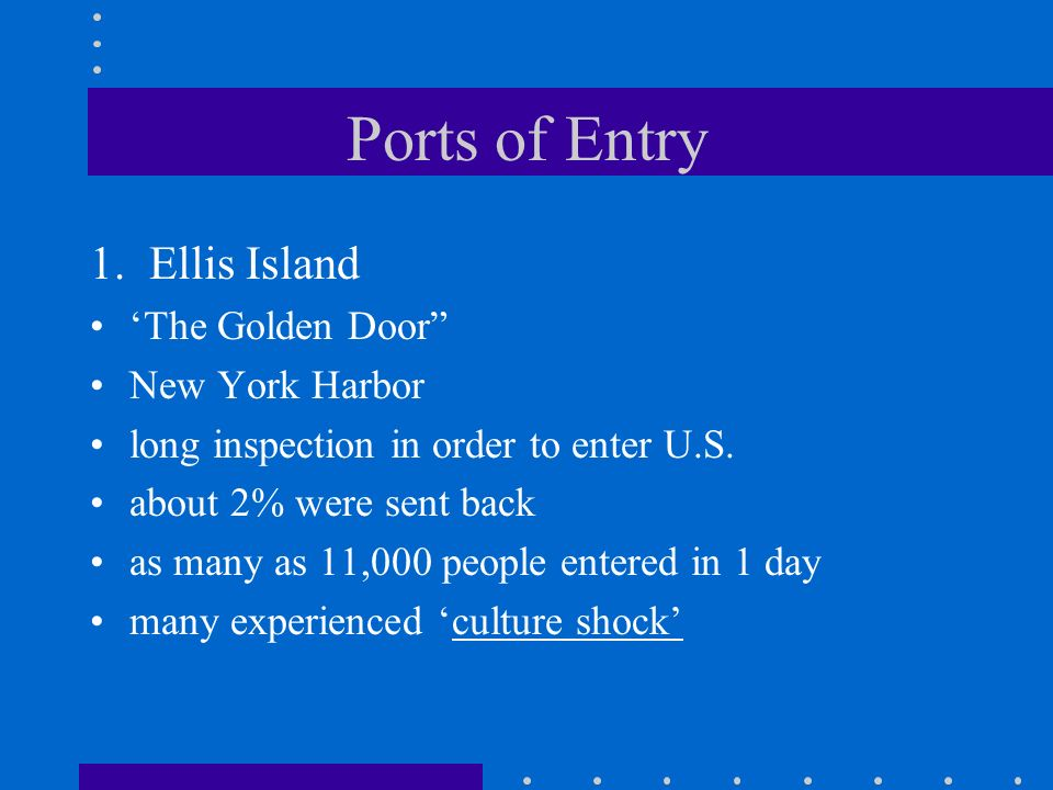 Ports of Entry 1.