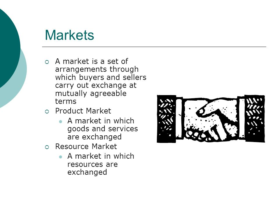 Markets A market is a set of arrangements through which buyers and sellers carry out exchange at mutually agreeable terms Product Market A market in which goods and services are exchanged Resource Market A market in which resources are exchanged