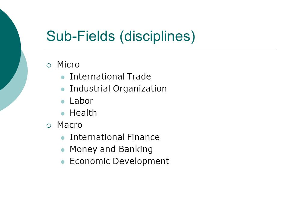 Sub-Fields (disciplines) Micro International Trade Industrial Organization Labor Health Macro International Finance Money and Banking Economic Development