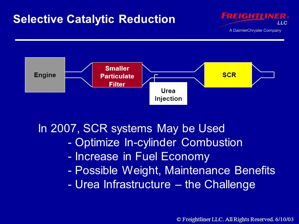 Selective Catalytic Reduction Engine Smaller Particulate Filter SCR Urea Injection In 2007, SCR systems May be Used - Optimize In-cylinder Combustion - Increase in Fuel Economy - Possible Weight, Maintenance Benefits - Urea Infrastructure – the Challenge Smaller Particulate Filter Urea Injection SCR © Freightliner LLC.