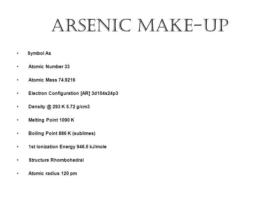 Arsenic Make-up Symbol As Atomic Number 33 Atomic Mass Electron Configuration [AR] 3d104s24p3 293 K 5.72 g/cm3 Melting Point 1090 K Boiling Point 886 K (sublimes) 1st Ionization Energy kJ/mole Structure Rhombohedral Atomic radius 120 pm
