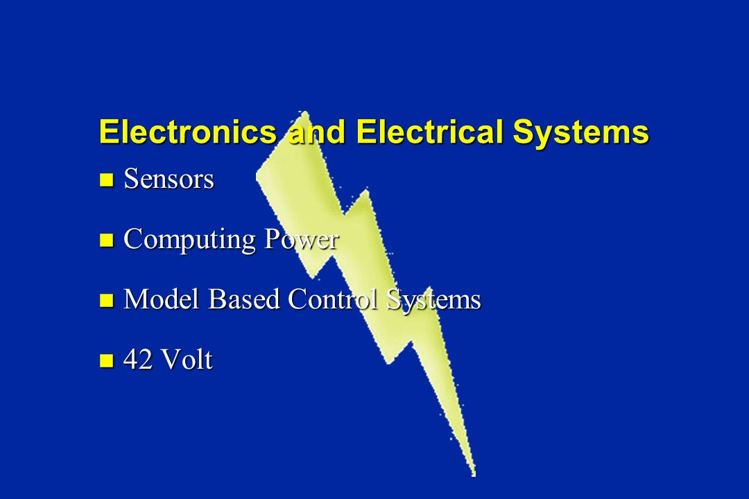 Sensors Sensors Computing Power Computing Power Model Based Control Systems Model Based Control Systems 42 Volt 42 Volt Electronics and Electrical Systems