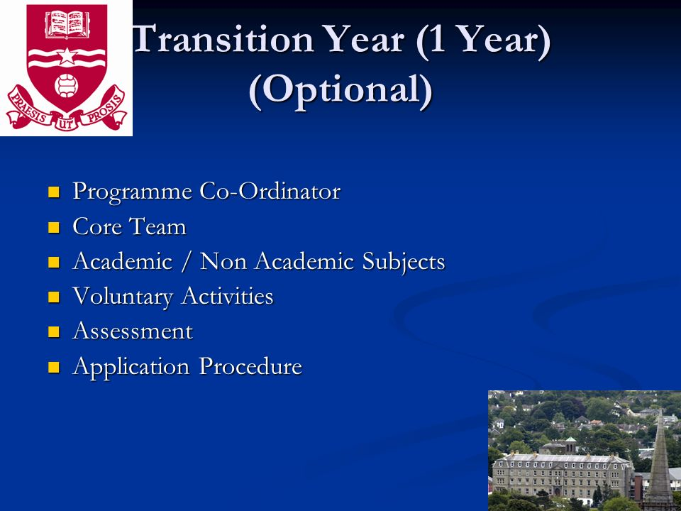 Transition Year (1 Year) (Optional) Programme Co-Ordinator Programme Co-Ordinator Core Team Core Team Academic / Non Academic Subjects Academic / Non Academic Subjects Voluntary Activities Voluntary Activities Assessment Assessment Application Procedure Application Procedure