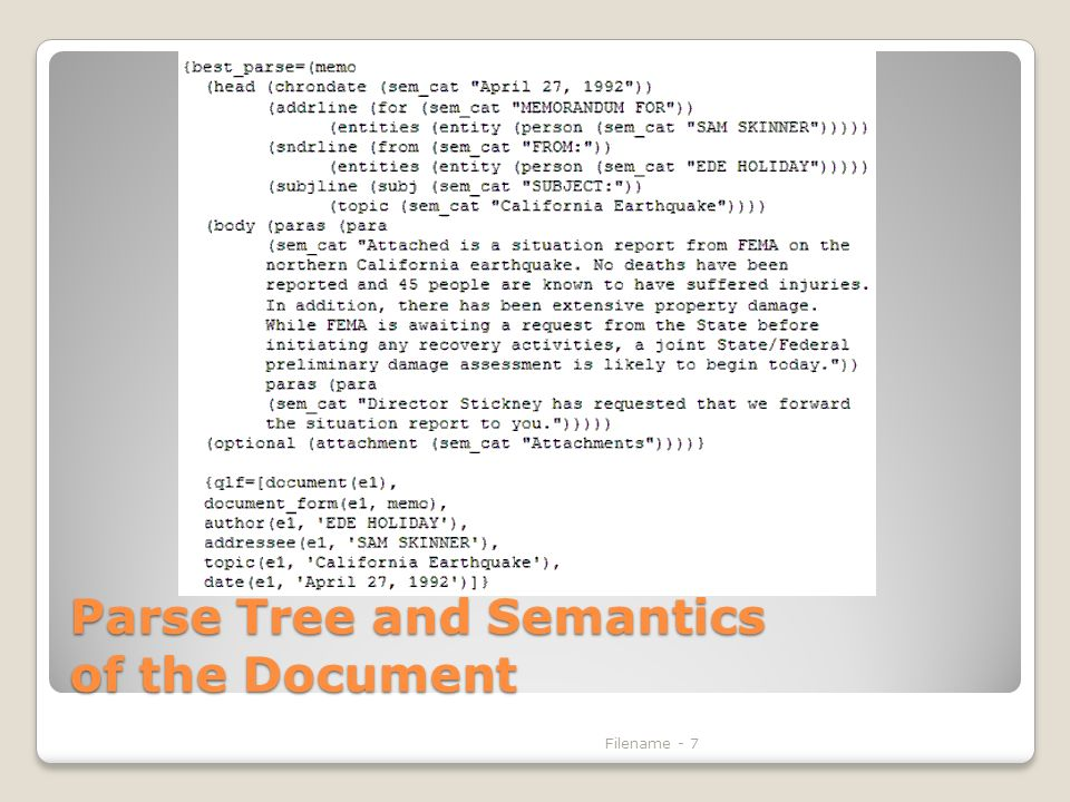 Parse Tree and Semantics of the Document Filename - 7