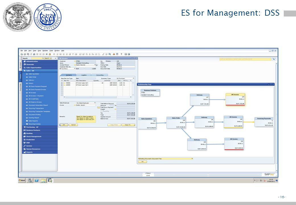 - 15- ES for Management: DSS Decision Support Systems –Support semi-structured decisions where the main decision variables are known and can be processed e.g.: Budgeting systems Financial planning Investment analysis Loan management Etc.