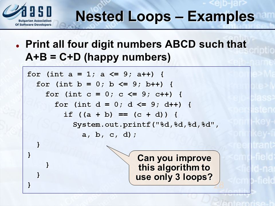 Nested Loops – Examples Print all four digit numbers ABCD such that A+B = C+D (happy numbers) Print all four digit numbers ABCD such that A+B = C+D (happy numbers) 28 for (int a = 1; a <= 9; a++) { for (int b = 0; b <= 9; b++) { for (int b = 0; b <= 9; b++) { for (int c = 0; c <= 9; c++) { for (int c = 0; c <= 9; c++) { for (int d = 0; d <= 9; d++) { for (int d = 0; d <= 9; d++) { if ((a + b) == (c + d)) { if ((a + b) == (c + d)) { System.out.printf( %d,%d,%d,%d , System.out.printf( %d,%d,%d,%d , a, b, c, d); a, b, c, d); }} } }} Can you improve this algorithm to use only 3 loops