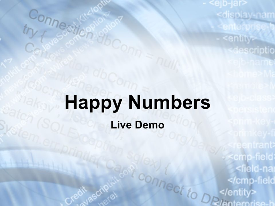 Happy Numbers Live Demo