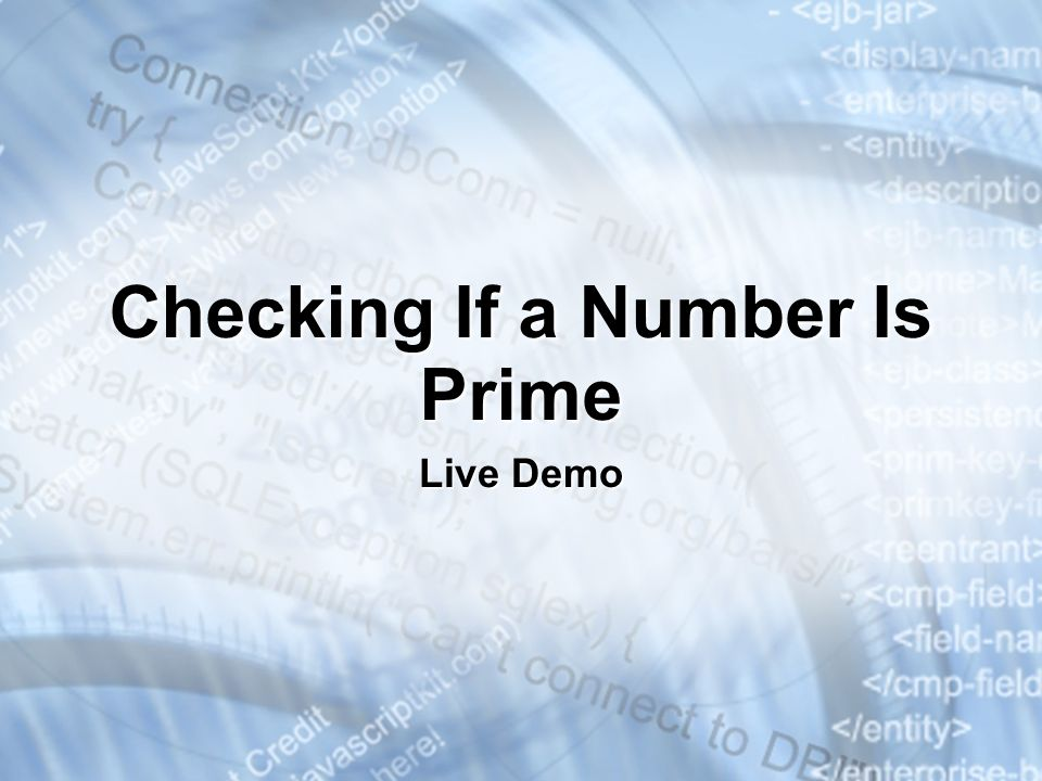Checking If a Number Is Prime Live Demo