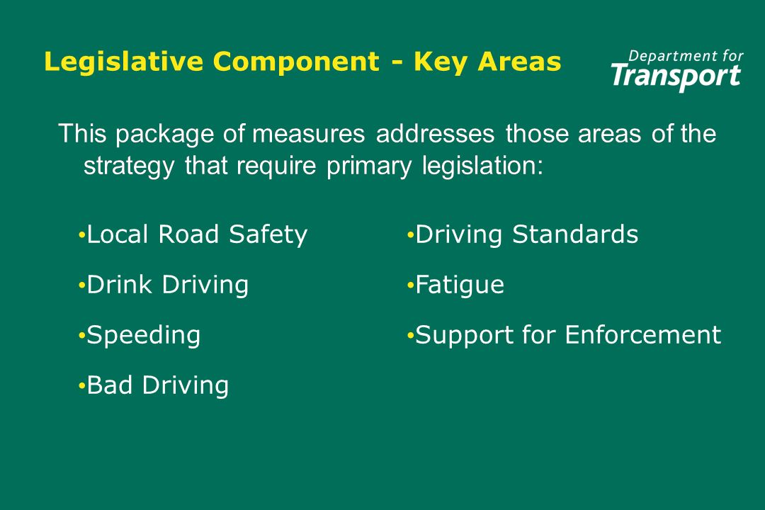 Legislative Component - Key Areas Local Road Safety Drink Driving Speeding Bad Driving Local Road Safety Drink Driving Speeding Bad Driving Driving Standards Fatigue Support for Enforcement This package of measures addresses those areas of the strategy that require primary legislation:
