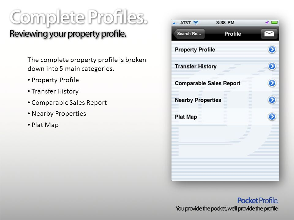 The complete property profile is broken down into 5 main categories.