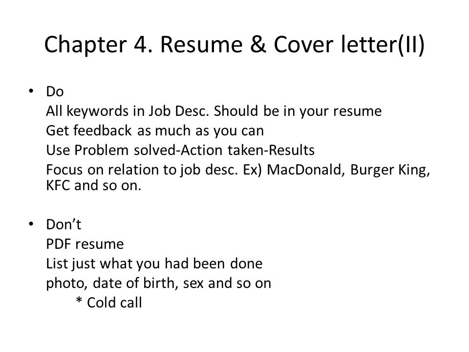 Chapter 4. Resume & Cover letter(II) Do All keywords in Job Desc.