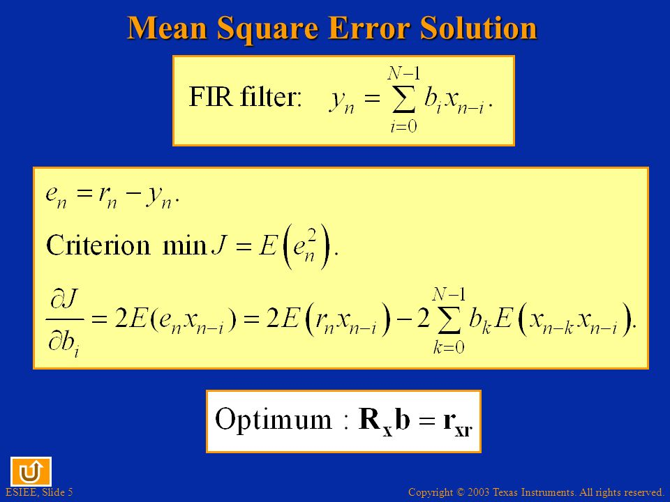 Copyright © 2003 Texas Instruments. All rights reserved. ESIEE, Slide 5 Mean Square Error Solution