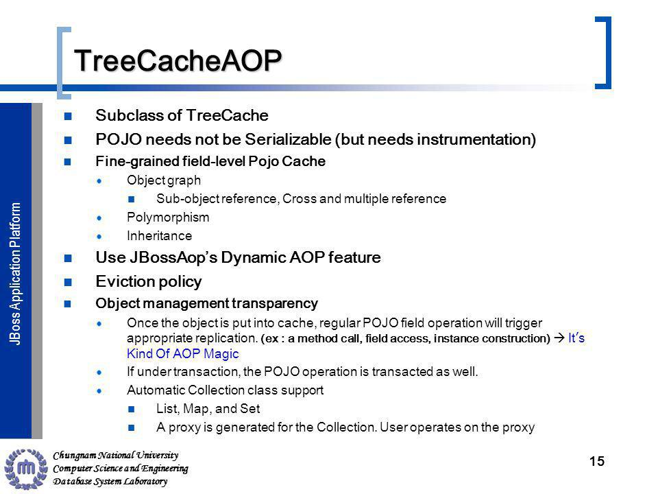 Chungnam National University Computer Science and Engineering Database System Laboratory JBoss Application ServerJBoss Application Platform TreeCacheAOP Subclass of TreeCache POJO needs not be Serializable (but needs instrumentation) Fine-grained field-level Pojo Cache Object graph Sub-object reference, Cross and multiple reference Polymorphism Inheritance Use JBossAops Dynamic AOP feature Eviction policy Object management transparency Once the object is put into cache, regular POJO field operation will trigger appropriate replication.