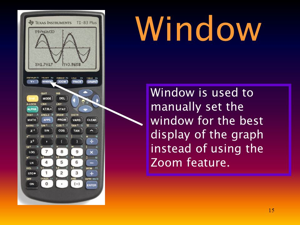 15 Window is used to manually set the window for the best display of the graph instead of using the Zoom feature.