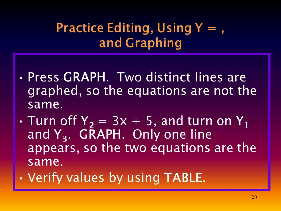 20 Practice Editing, Using Y =, and Graphing Press GRAPH.