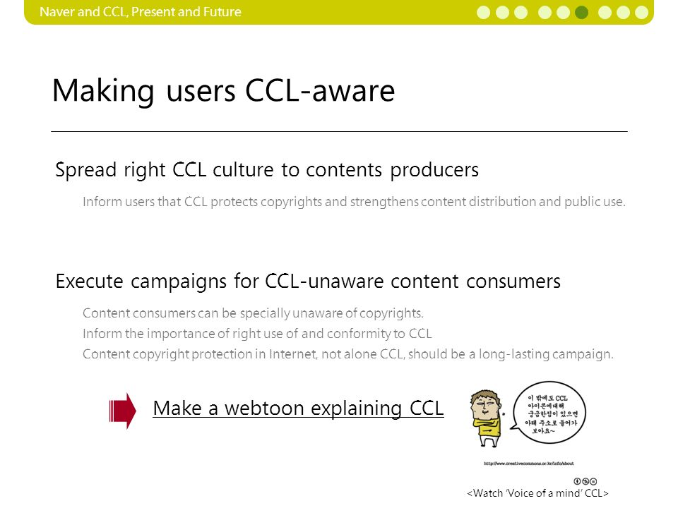 Making users CCL-aware Naver and CCL, Present and Future Inform users that CCL protects copyrights and strengthens content distribution and public use.