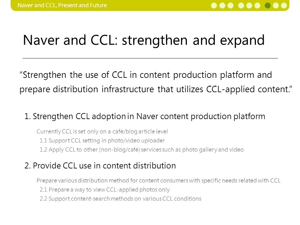 Naver and CCL: strengthen and expand Naver and CCL, Present and Future Currently CCL is set only on a café/blog article level 1.1 Support CCL setting in photo/video uploader 1.2 Apply CCL to other (non-blog/café) services such as photo gallery and video 1.