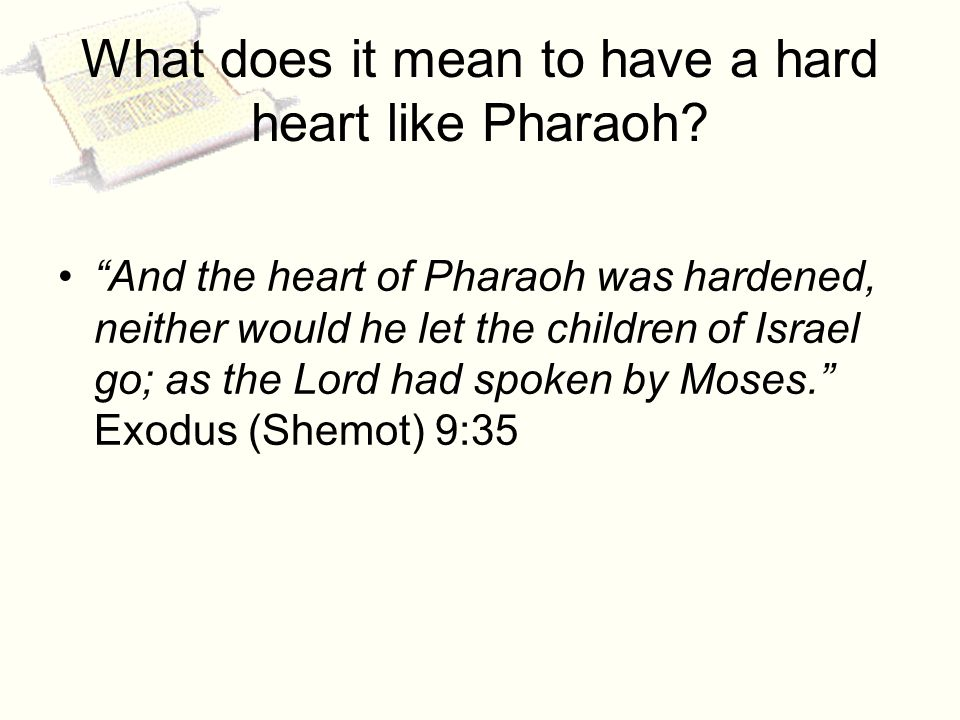 What does it mean to have a hard heart like Pharaoh.