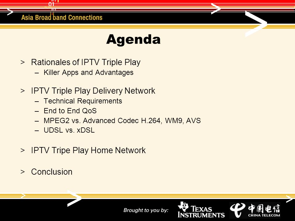 Agenda Rationales of IPTV Triple Play –Killer Apps and Advantages IPTV Triple Play Delivery Network –Technical Requirements –End to End QoS –MPEG2 vs.