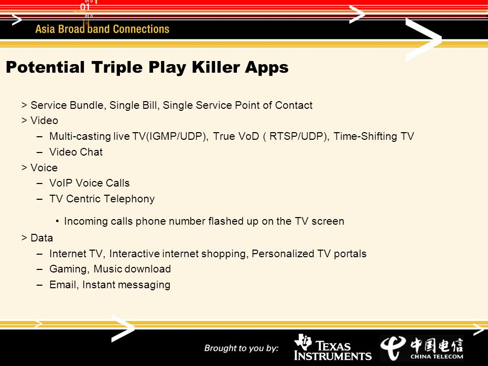 Potential Triple Play Killer Apps Service Bundle, Single Bill, Single Service Point of Contact Video –Multi-casting live TV(IGMP/UDP), True VoD ( RTSP/UDP), Time-Shifting TV –Video Chat Voice –VoIP Voice Calls –TV Centric Telephony Incoming calls phone number flashed up on the TV screen Data –Internet TV, Interactive internet shopping, Personalized TV portals –Gaming, Music download – , Instant messaging