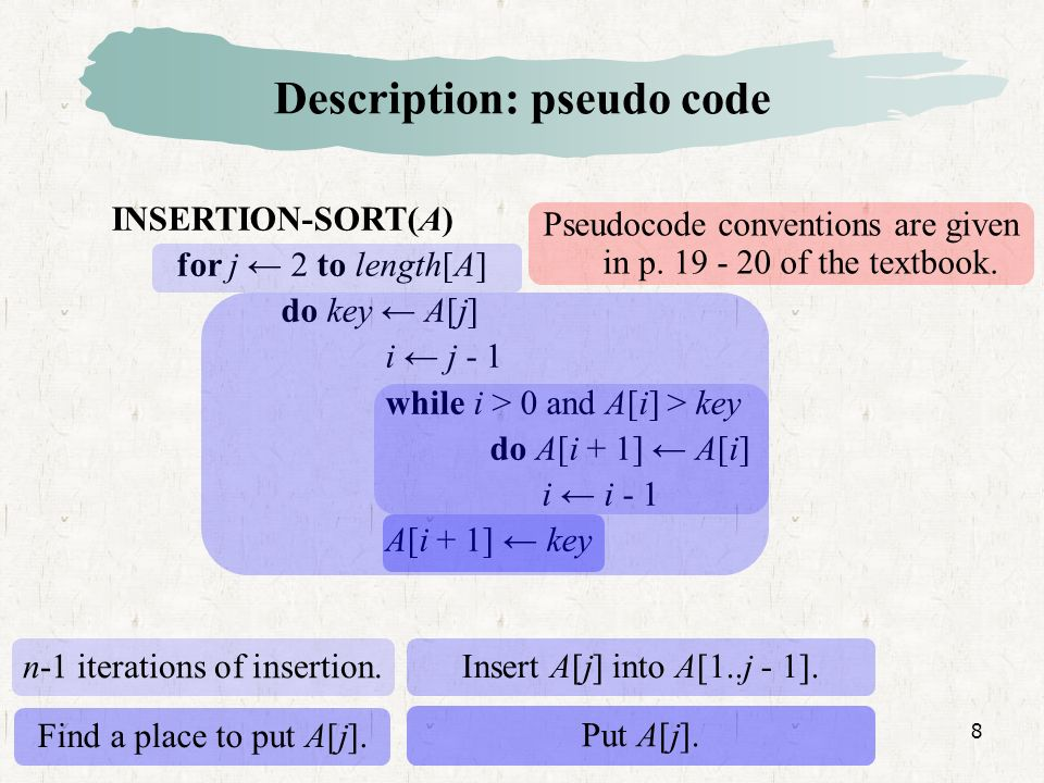 8 Description: pseudo code INSERTION-SORT(A) for j 2 to length[A] do key A[j] i j - 1 while i > 0 and A[i] > key do A[i + 1] A[i] i i - 1 A[i + 1] key Insert A[j] into A[1..j - 1].
