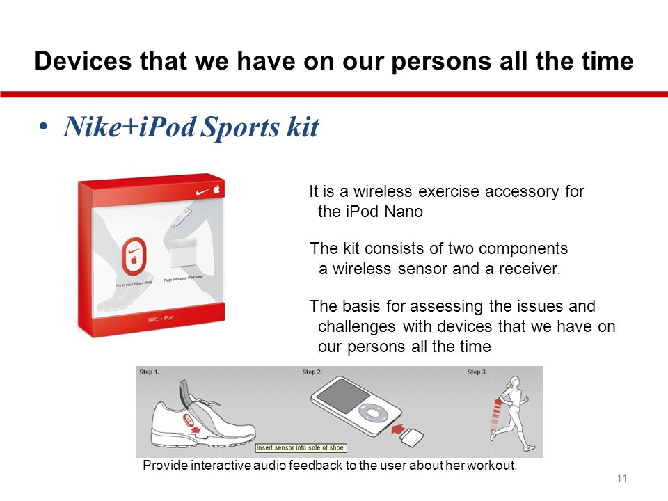 Devices that we have on our persons all the time 11 Nike+iPod Sports kit It is a wireless exercise accessory for the iPod Nano The kit consists of two components a wireless sensor and a receiver.