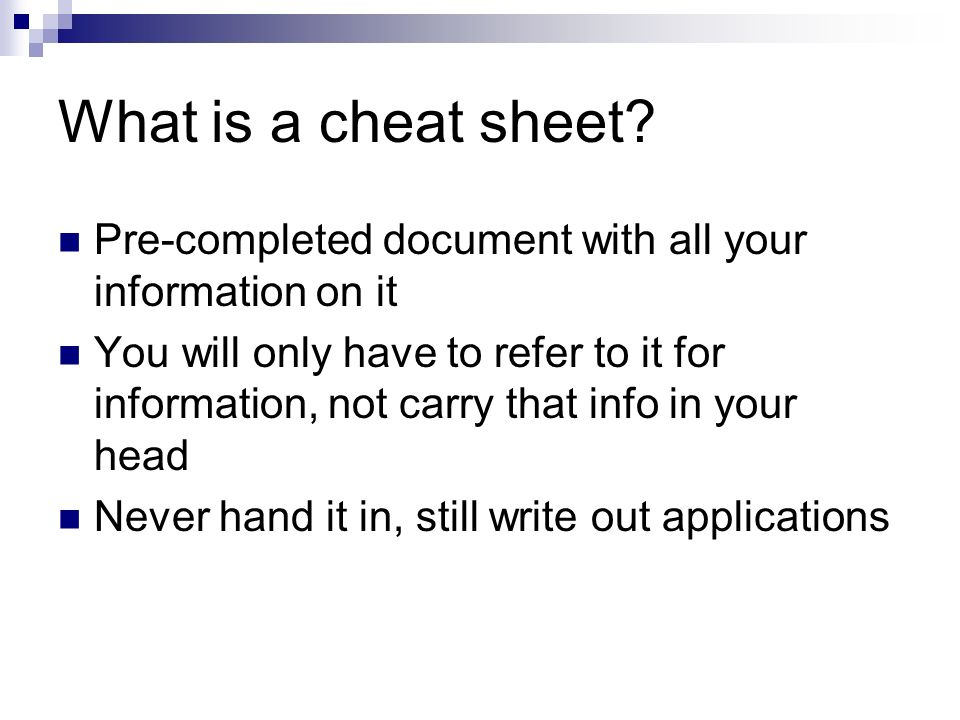 What is a cheat sheet.