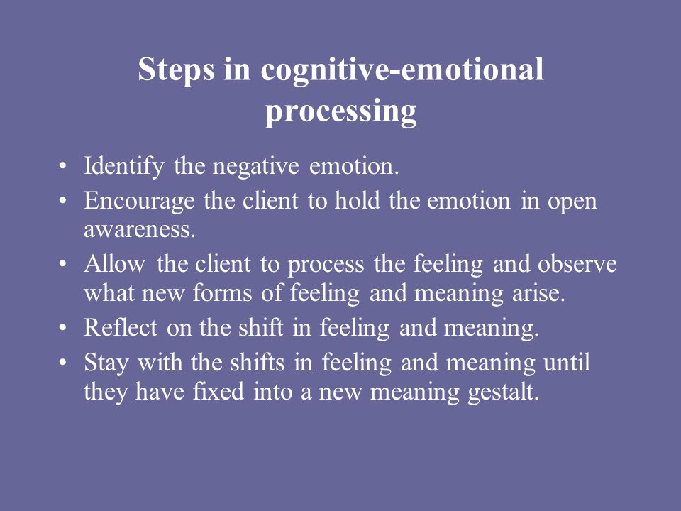 Steps in cognitive-emotional processing Identify the negative emotion.