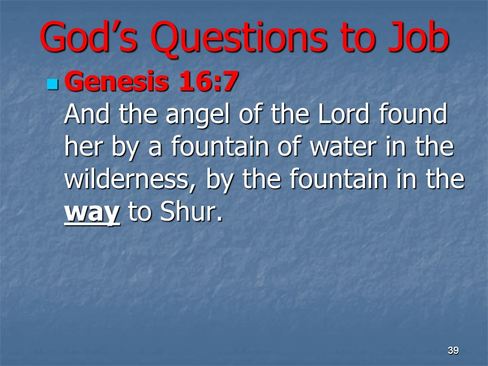 Gods Questions to Job Genesis 16:7 And the angel of the Lord found her by a fountain of water in the wilderness, by the fountain in the way to Shur.