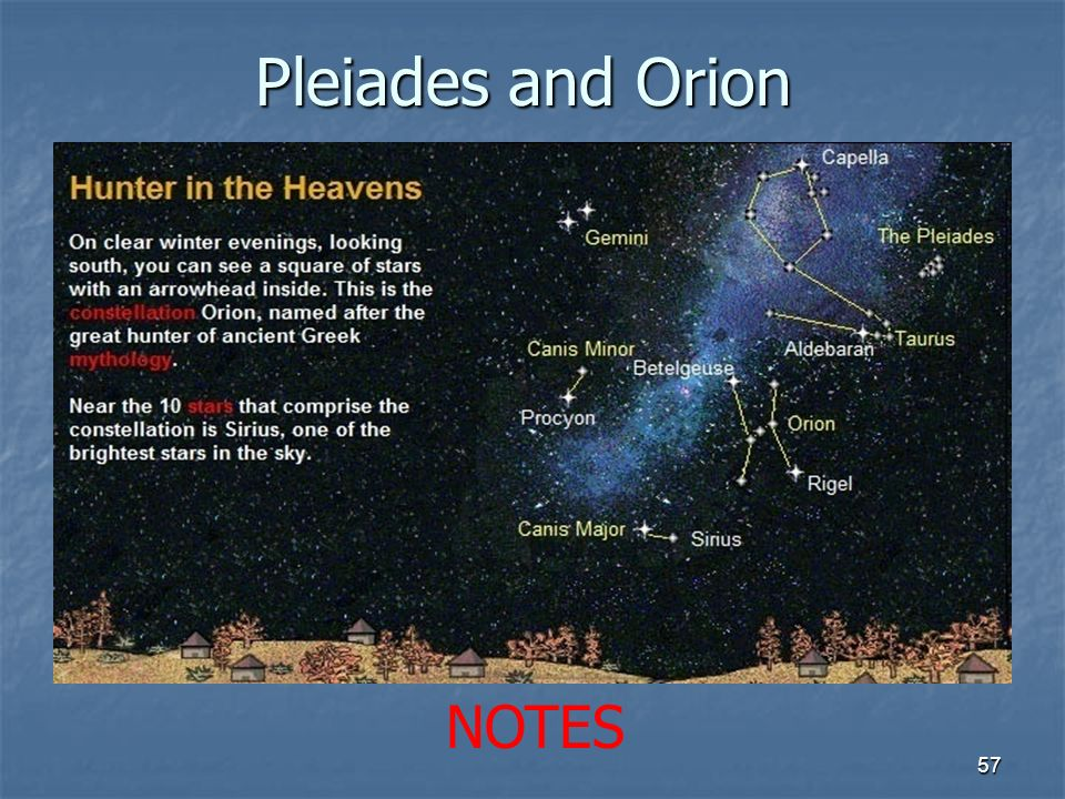 Pleiades and Orion 57 NOTES