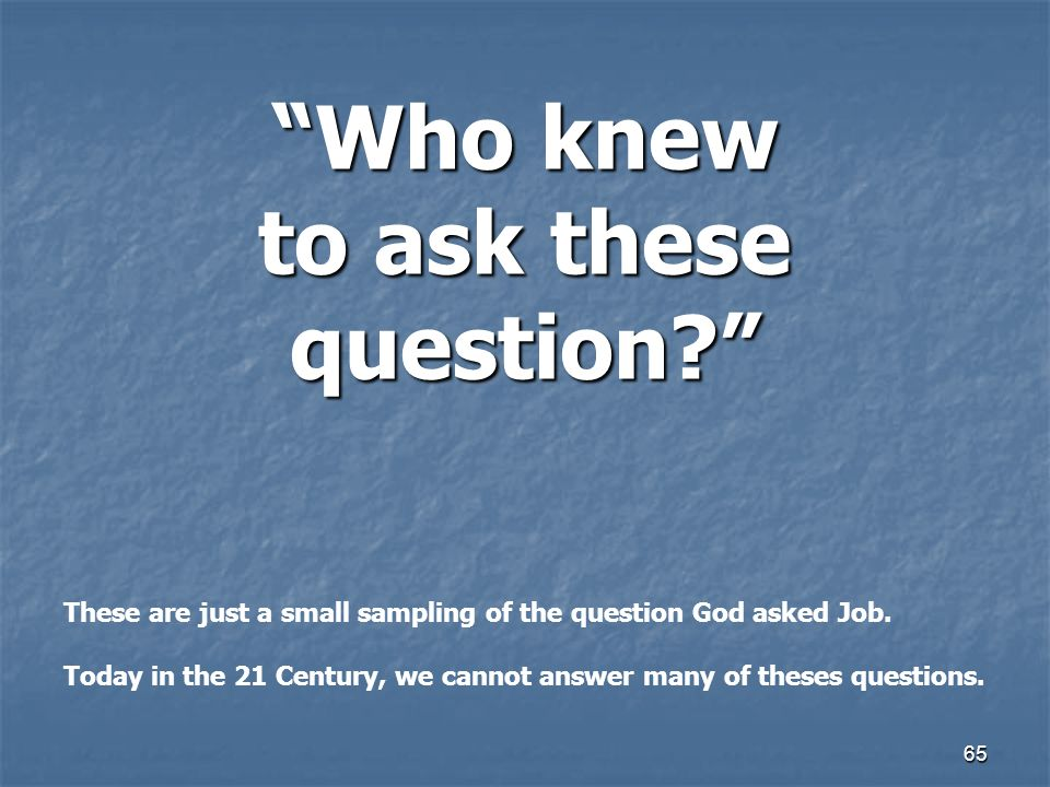 Who knew to ask these question. 65 These are just a small sampling of the question God asked Job.