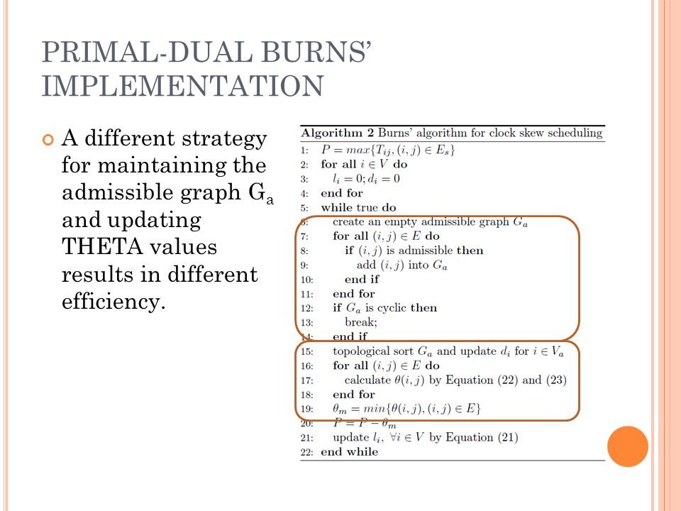 PRIMAL-DUAL BURNS IMPLEMENTATION A different strategy for maintaining the admissible graph G a and updating THETA values results in different efficiency.