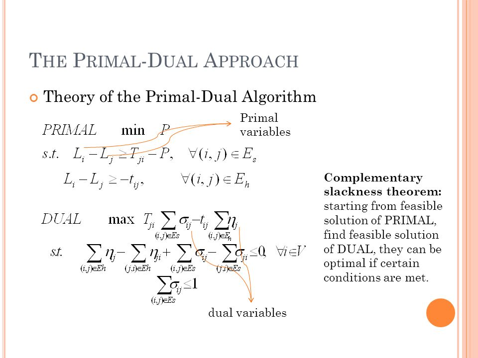 T HE P RIMAL -D UAL A PPROACH Theory of the Primal-Dual Algorithm Complementary slackness theorem: starting from feasible solution of PRIMAL, find feasible solution of DUAL, they can be optimal if certain conditions are met.