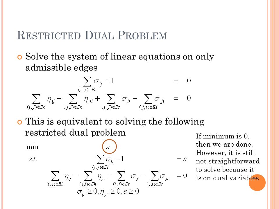 R ESTRICTED D UAL P ROBLEM Solve the system of linear equations on only admissible edges This is equivalent to solving the following restricted dual problem If minimum is 0, then we are done.