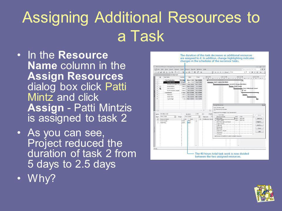 Assigning Additional Resources to a Task In the Resource Name column in the Assign Resources dialog box click Patti Mintz and click Assign - Patti Mintzis is assigned to task 2 As you can see, Project reduced the duration of task 2 from 5 days to 2.5 days Why
