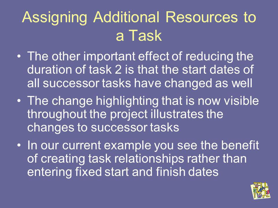 Assigning Additional Resources to a Task The other important effect of reducing the duration of task 2 is that the start dates of all successor tasks have changed as well The change highlighting that is now visible throughout the project illustrates the changes to successor tasks In our current example you see the benefit of creating task relationships rather than entering fixed start and finish dates