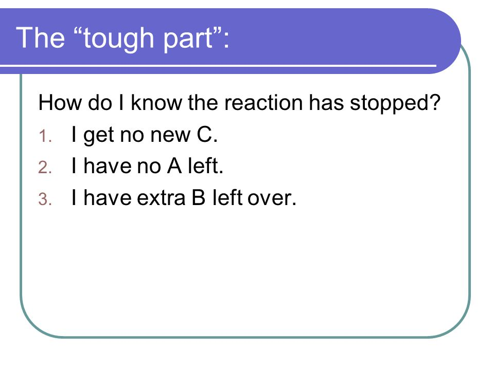 The tough part: How do I know the reaction has stopped.