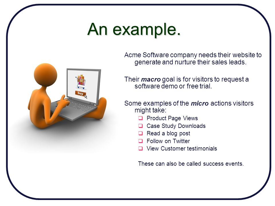 An example. Acme Software company needs their website to generate and nurture their sales leads.