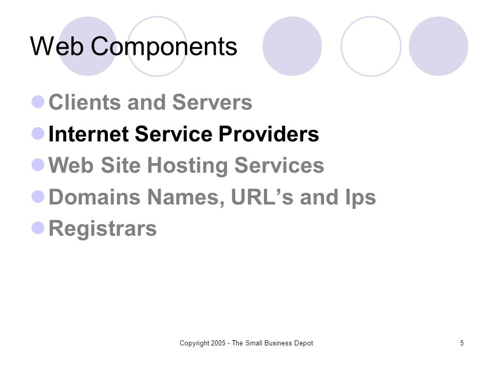 Copyright The Small Business Depot5 Web Components Clients and Servers Internet Service Providers Web Site Hosting Services Domains Names, URLs and Ips Registrars
