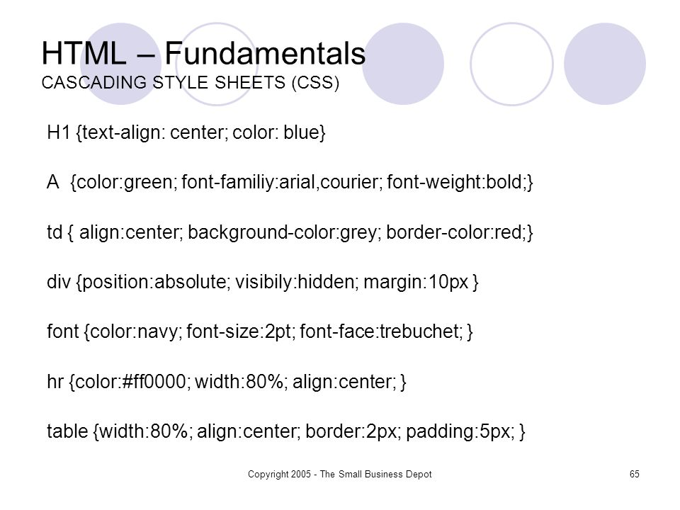 Copyright The Small Business Depot65 HTML – Fundamentals CASCADING STYLE SHEETS (CSS) H1 {text-align: center; color: blue} A {color:green; font-familiy:arial,courier; font-weight:bold;} td { align:center; background-color:grey; border-color:red;} div {position:absolute; visibily:hidden; margin:10px } font {color:navy; font-size:2pt; font-face:trebuchet; } hr {color:#ff0000; width:80%; align:center; } table {width:80%; align:center; border:2px; padding:5px; }