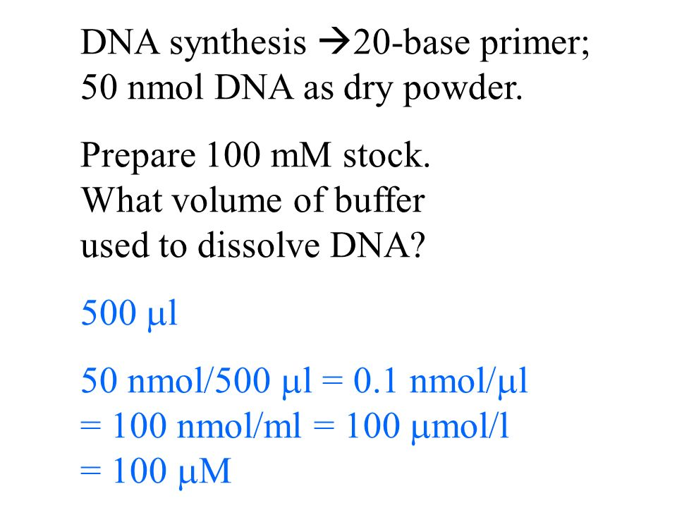 DNA synthesis 20-base primer; 50 nmol DNA as dry powder.
