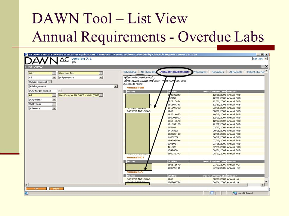 DAWN Tool – List View Annual Requirements - Overdue Labs