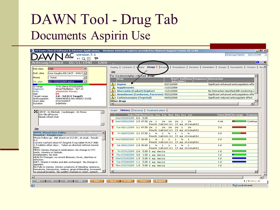 DAWN Tool - Drug Tab Documents Aspirin Use