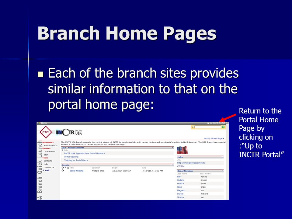 Branch Home Pages Each of the branch sites provides similar information to that on the portal home page: Each of the branch sites provides similar information to that on the portal home page: Return to the Portal Home Page by clicking on :Up to INCTR Portal